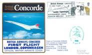 """1 Er Vol LETTRE 1 ER VOL DU CONCORDE """"Londres / Copenhague, 18 septembre 1982, commandant de Bord HIRST"""""""