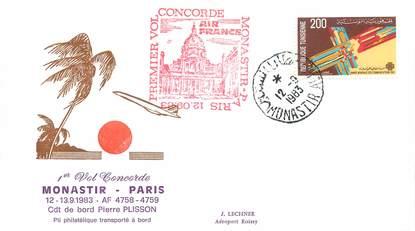 """LETTRE 1 ER VOL DU CONCORDE """"Monastir / Paris, 13 septembre 1983, Commandant de Bord: Pierre PLISSON"""""""