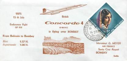 "LETTRE 1 ER VOL DU CONCORDE ""Bahrain / Bombay, 15 juillet 1975"""