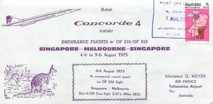 """LETTRE 1 ER VOL DU CONCORDE """"Singapour / Melbourne / Singapour, 4 au 9 aout 1975"""""""
