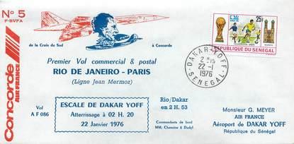 """LETTRE 1 ER VOL DU CONCORDE """"Rio de Janeiro / Paris, 22 janvier 1976"""""""