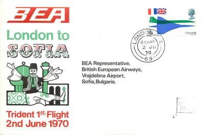 """LETTRE 1 ER VOL DU CONCORDE """"Londres / Sofia, 2 juin 1970"""""""