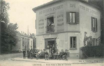 """CPA FRANCE 94 """"Créteil, Rond Point et rue du Chateau, Restaurant """""""