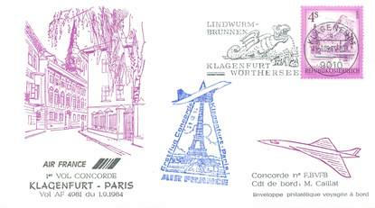 """LETTRE 1 ER VOL DU CONCORDE """"Klagenfurt / Paris, 1er septembre 1984, Commandant de Bord: M; CAILLAT"""""""
