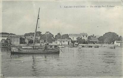 """CPA FRANCE 83 """" Les Salins d'Hyères, Un coin du port""""."""