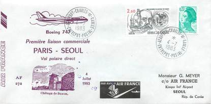 """LETTRE 1 ER VOL FRANCE """"Paris / Séoul, 4 juillet 1983, vol POLAIRE, BOEING 747"""""""