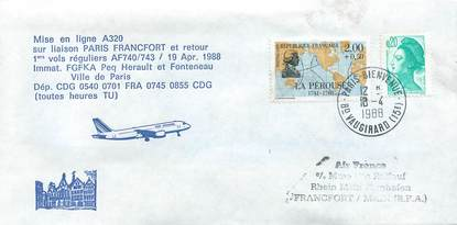 "LETTRE 1 ER VOL FRANCE ""Paris / Francfort, 19 avril 1988 / Avion A 320"""