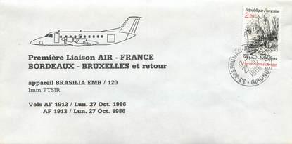 """LETTRE 1 ER VOL FRANCE """"Bordeaux / Bruxelles, 27 octobre 1986"""""""