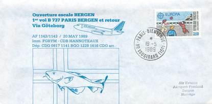 """LETTRE 1 ER VOL FRANCE """"Paris / Bergen, BOEING 737, 20 mai 1989"""""""