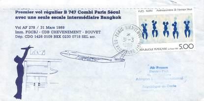 """LETTRE 1 ER VOL FRANCE """"Paris / Séoul, 31 mars 1989, BOEING 747"""""""