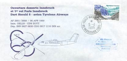 """LETTRE 1 ER VOL FRANCE """"Paris / Innsbruck, 6 avril 1989"""""""