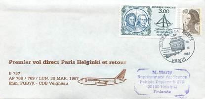 "LETTRE 1 ER VOL FRANCE ""Paris / Helsinki, 30 mars 1987 / BOEING 737"""