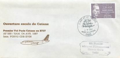 """LETTRE 1 ER VOL FRANCE """"Paris / Catane, 4 avril 1987, BOEING 737"""""""