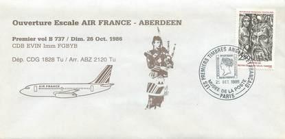 """LETTRE 1 ER VOL FRANCE """"Paris / Aberdeen, 26 octobre 1986, BOEING 737"""""""
