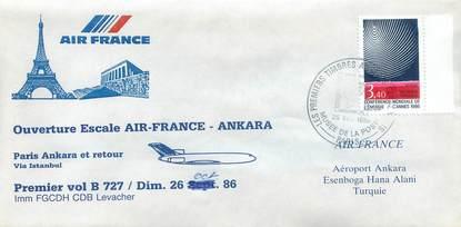 "LETTRE 1 ER VOL FRANCE ""Paris / Ankara, 26 octobre 1986 / BOEING 727"""