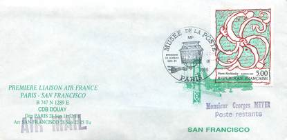 "LETTRE 1 ER VOL FRANCE ""Paris / San Francisco, 28 septembre 1986"""