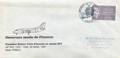 "LETTRE 1 ER VOL FRANCE ""Paris / Florence, 29 mars 1987"""