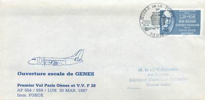 """LETTRE 1 ER VOL FRANCE """"Paris / Gènes, 30 mars 1987"""""""