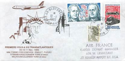"LETTRE 1 ER VOL FRANCE ""Strasbourg / New York"""