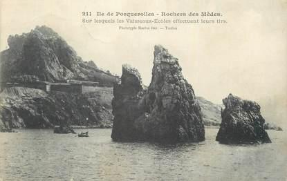 "CPA FRANCE 83 "" Ile de Porquerolles, Rochers de Mèdes""."