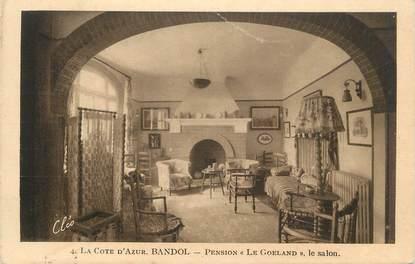 """CPA FRANCE 83 """"Bandol, Pension Le Goéland, le salon""""."""