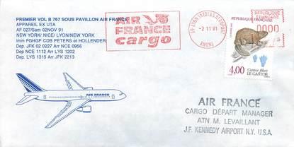 "LETTRE 1 ER VOL / FRANCE ""New York / Nice / Lyon / New York, 2 novembre 1991"""