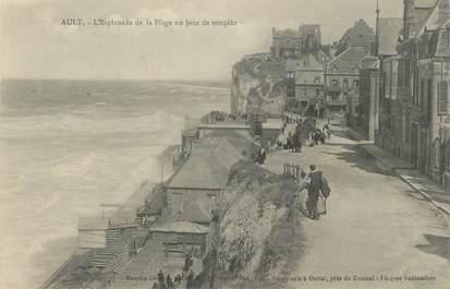 """CPA FRANCE 80 """"Ault, L'esplanade de la plage un jour de tempête""""."""