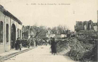 """CPA FRANCE 80 """" Ham, La rue du Général Foy, le déblaiement""""."""
