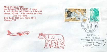 """LETTRE 1 ER VOL / FRANCE """"Paris / Rome, 6 juin 1988"""""""
