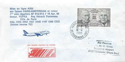 """LETTRE 1 ER VOL / FRANCE """"Paris / Amsterdam, 19 avril 1988, A320"""""""