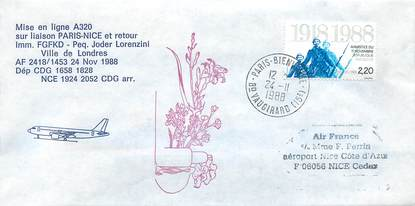 "LETTRE 1 ER VOL / FRANCE ""Paris / Nice, 24 novembre 1988, A320"""