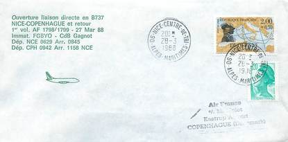 "LETTRE 1 ER VOL / FRANCE ""Nice / Copenhague, 27 mars 1988, BOEING 737"""
