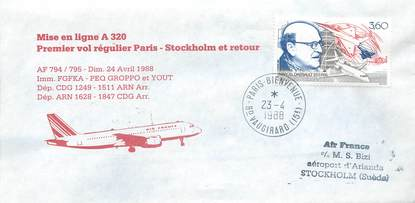 "LETTRE 1 ER VOL / FRANCE ""Paris / Stockolm, 24 avril 1988"""