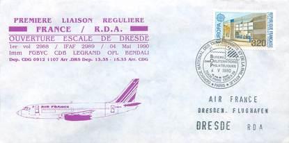 "LETTRE 1 ER VOL / FRANCE ""Paris / RDA, 4 mai 1990"""