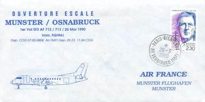 "LETTRE 1 ER VOL / FRANCE ""Munster / Osnabruck, 26 mars 1990"""
