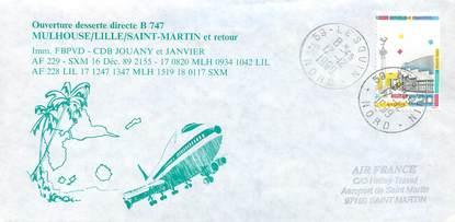 """LETTRE 1 ER VOL / FRANCE """"Mulhouse / Lille / Saint Martin, 16 décembre 1989, BOEING 747"""""""