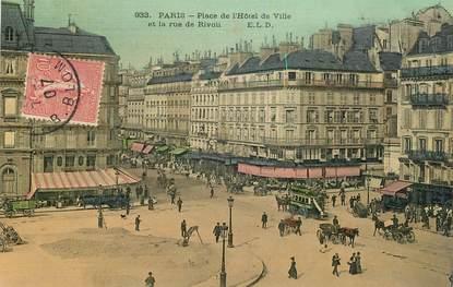 """CPA FRANCE 75001 """"Paris, Place de l'Hotel de Ville et la rue de Rivoli"""""""