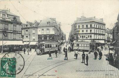 "CPA FRANCE 80 ""Amiens, La place Gambetta"". / TRAMWAY"