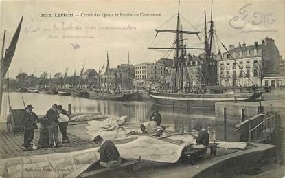 """CPA FRANCE 56 """"Lorient, cours des quais et bassin du commerce"""""""