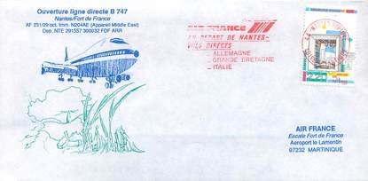 "LETTRE 1 ER VOL / FRANCE ""Nantes / Fort de France, BOEING 747"""