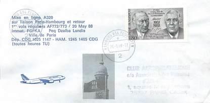 """LETTRE 1 ER VOL / FRANCE """"Paris Hambourg, 20 mai 1988"""""""