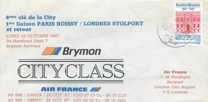 """LETTRE 1 ER VOL / FRANCE """"Paris / Londres, 26 octobre 1987"""""""