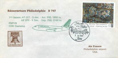 """LETTRE 1 ER VOL / FRANCE """"Parsi, Philadelphie, 5 décembre 1987"""""""