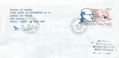 """LETTRE 1 ER VOL / FRANCE """"Paris Izmir via Istamboul, 28 mars 1988"""""""