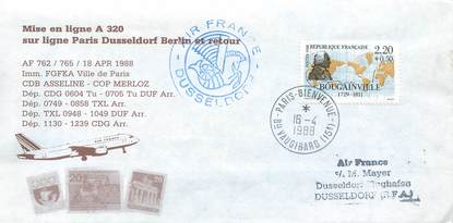 "LETTRE 1 ER VOL / FRANCE ""Paris Dusseldorf Berlin, A320, 18 avril 1988"""