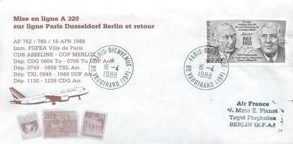 "LETTRE 1 ER VOL / FRANCE ""Paris Dusseldorf Berlin, 18 avril 1988"""