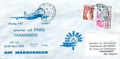 "LETTRE 1 ER VOL / FRANCE ""Paris Tananarive, 3 mars 1979"""