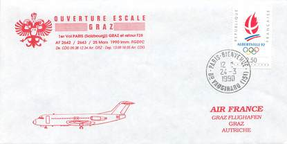 "LETTRE 1 ER VOL / FRANCE ""Paris Graz, 24 mars 1990"""