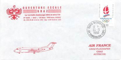 """LETTRE 1 ER VOL / FRANCE """"Paris Graz, 24 mars 1990"""""""