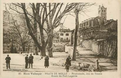 "CPA FRANCE 66 ""Prats de Mollo, Promenade, jeu de tennis, route de Fort Lagarde""."
